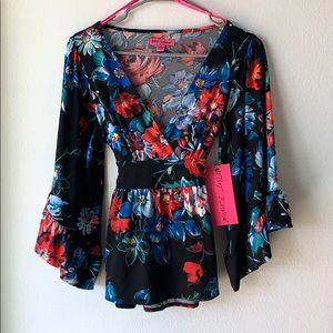 Betsey Johnson Floral Blouse (Size S)